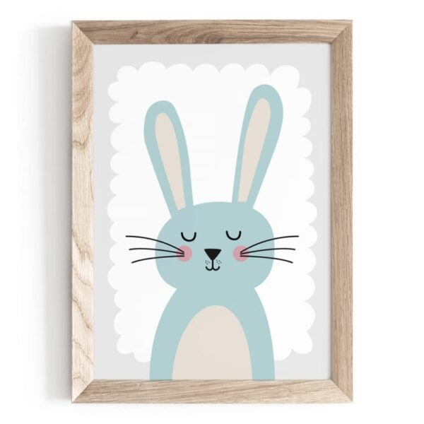 Plakat na ścianę miętowy króliczek