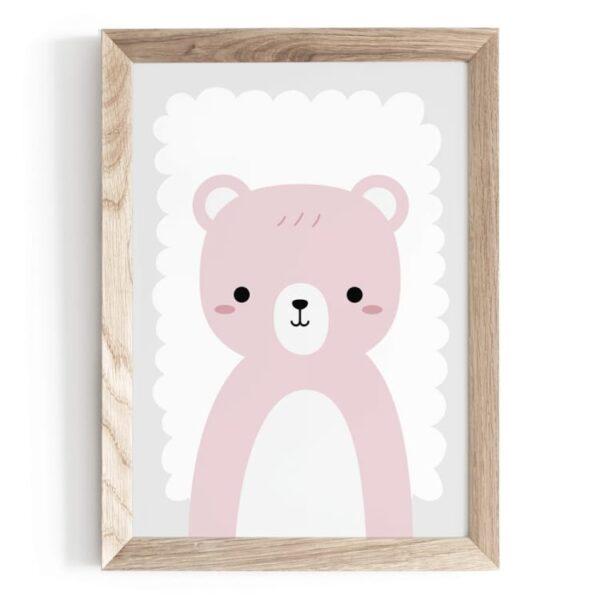 Plakat na ścianę różowy Miś