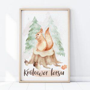 Plakat na ścianę królowa lasu wiewiórka
