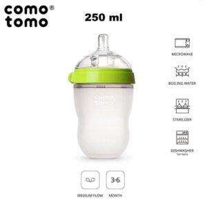 comotomo antykolkowa butelka silikonowa 250 ml green baby 4 300x300 - Butelka dla niemowląt 250 ml Green