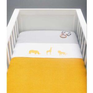 Kocyk dla dziecka tkany Ocher