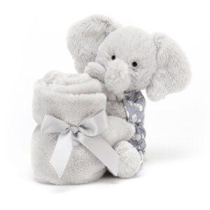 Słonik przytulanka dla niemowlaka w ubranku 34x34 cm
