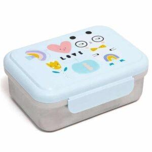 lunchbox wykonany jest z nierdzewnej stali szlachetnej sztywna konstrukcja zapobiega zgniataniu się owoców, przekąsek i kanapek