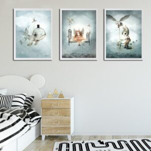 Spray Color Bird Bicycle Rabbit Boy Cartoon Whale Lion Girls Canvas Decoration Painting Animal Poster Kids 3 300x300 - Plakat dla dzieci wieloryb Mubo
