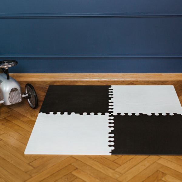 2. L bialo czarna 600x600 - Mata do zabawy dla dzieci czarna L