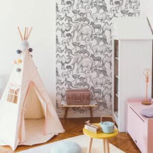 Tapeta dla dzieci African Zoo White
