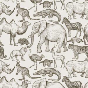 Tapeta dla dzieci African Zoo Beige