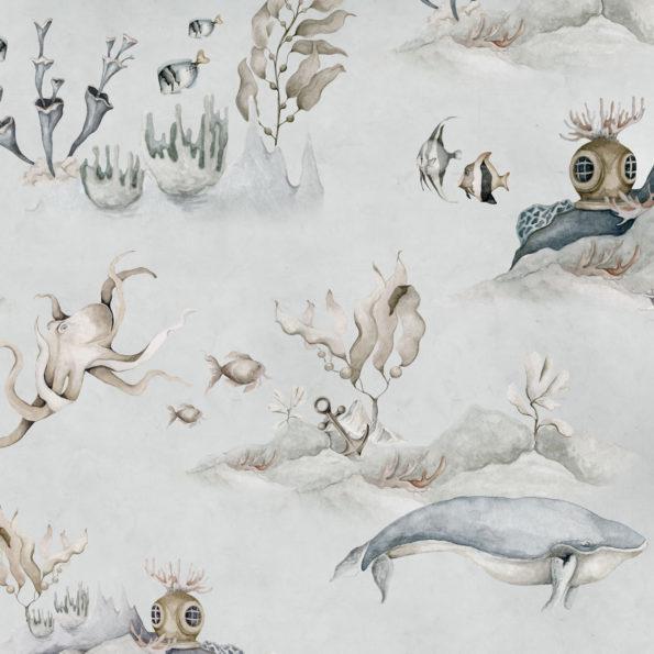 Tapeta dla dzieci Podwodny Świat Grey