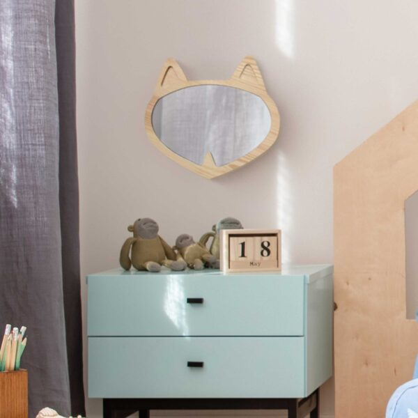 Drewniane lusterko dla dzieci lisek