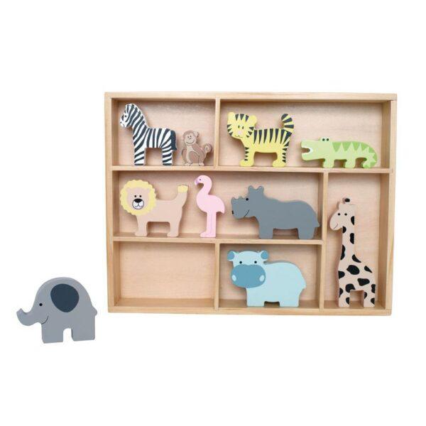 Drewniane figurki zwierzątek safari z półeczką