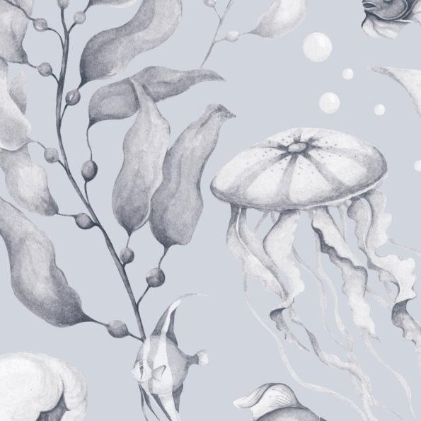 tapeta meduzy blue 100x280 595x595 1 - Tapeta dla dzieci Magia Oceanu Creamy Blue Big