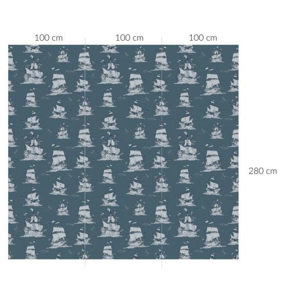 Tapeta dla dzieci Okręty Na Morzu Navy Blue