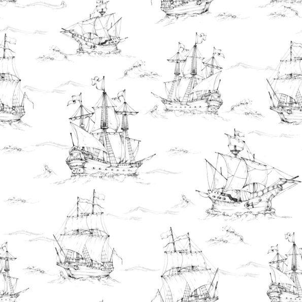Tapeta dla dzieci Okręty Na Morzu Black&White