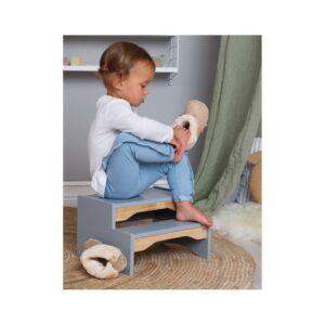 Drewniany podest dla dziecka srebny