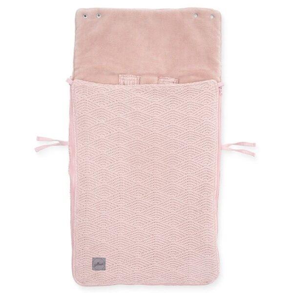 jollein spiworek oddychajacy do wozka i fotelika river knit pale pink 2 600x600 - Śpiworek do fotelika i wózka River Knit Pale Pink