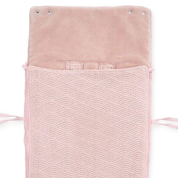 jollein spiworek oddychajacy do wozka i fotelika river knit pale pink 4 600x600 - Śpiworek do fotelika i wózka River Knit Pale Pink