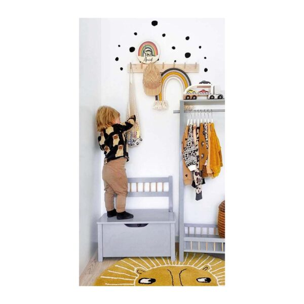 Ławka dla dzieci skrzynia na zabawki srebrna