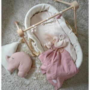 Przytulanka dla niemowląt muślinowy kocyk różowy