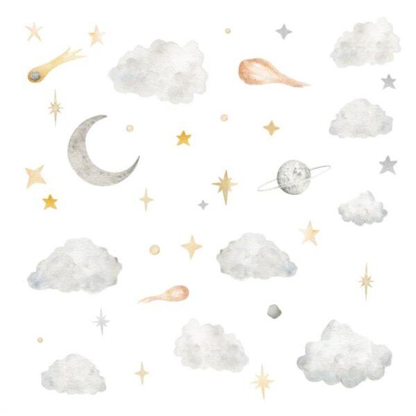 Naklejki zestaw kosmiczny chmurki i gwiazdy